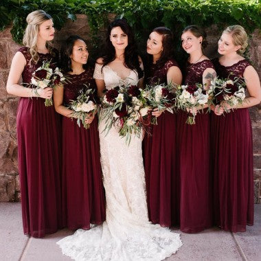 A-Line Round Neck Wine Chiffon Bridesmaid Dresses with Lace, TYP1368