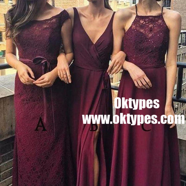 Dark Red Mismatched Cheap Long Bridesmaid Dresses Online,TYP0851