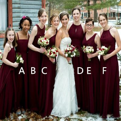 Burgundy Chiffon Bridesmaid Dresses, Dark Red Cheap Long Bridesmaid Dresses, TYP1202