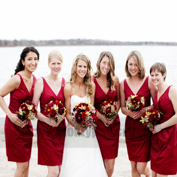 Burgundy V-neck Column Knee Length Satin Bridesmaid Dresses With Soft Pleats, TYP0753