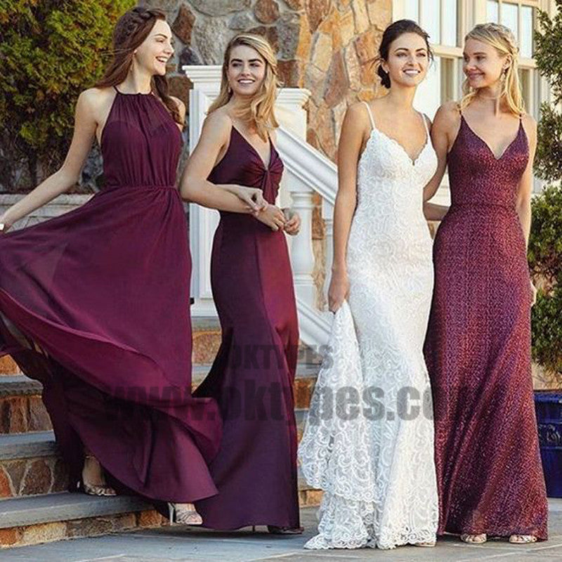 Mismatches A-Line Jewel Floor-Length Burgundy Chiffon Bridesmaid Dresses, TYP0703