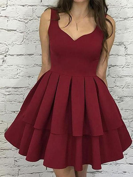 Simple Dark Red V Neck Cheap Homecoming Dresses 2018, CM470