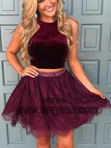 Halter Two Pieces Red Lace Cheap Homecoming Dresses 2018, Homecoming Dresses, TYP0493