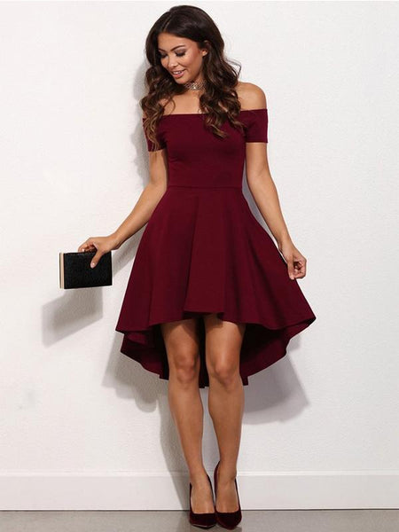 Off Shoulder Dark Red Cheap 2018 Homecoming Dresses Under 100