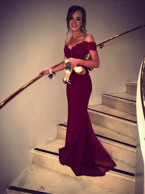Dark Red Off Shoulder Long Mermaid Lace Prom Evening Dresses, TYP1128