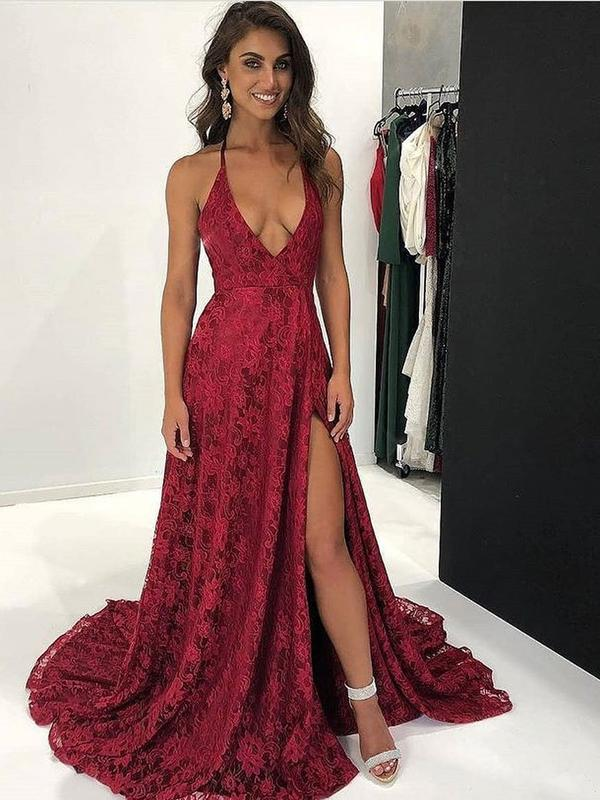 Long Lace Burgundy Formal Evening Gowns Spaghetti Strap Prom Dresses with Slit, TYP1229