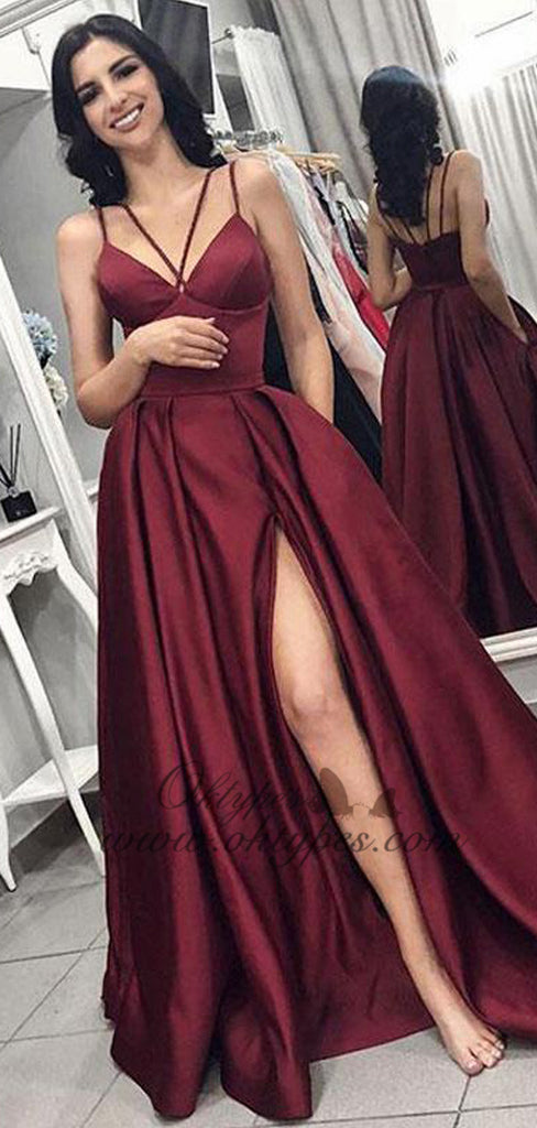 Burgundy Spaghetti Strap V-neck Long Side Slit Satin Prom Dresses, TYP1583