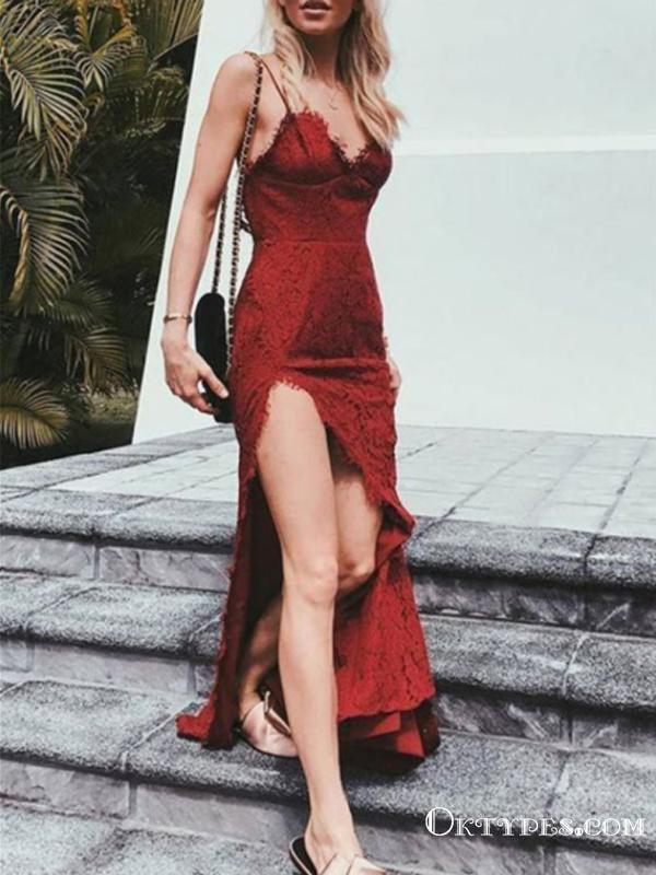 Mermaid Spaghetti Strap Floor-Length Lace Burgundy Prom Dresses, TYP1914