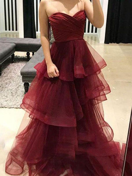 Burgundy Sweetheart A-line Simple Open Back Long Prom Dresses, TYP1352