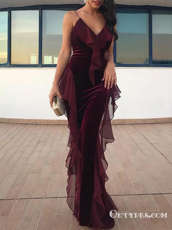 Burgundy  Spaghetti Straps Long Velvet Evening Gowns With Ruffles Prom Dresses, TYP1680