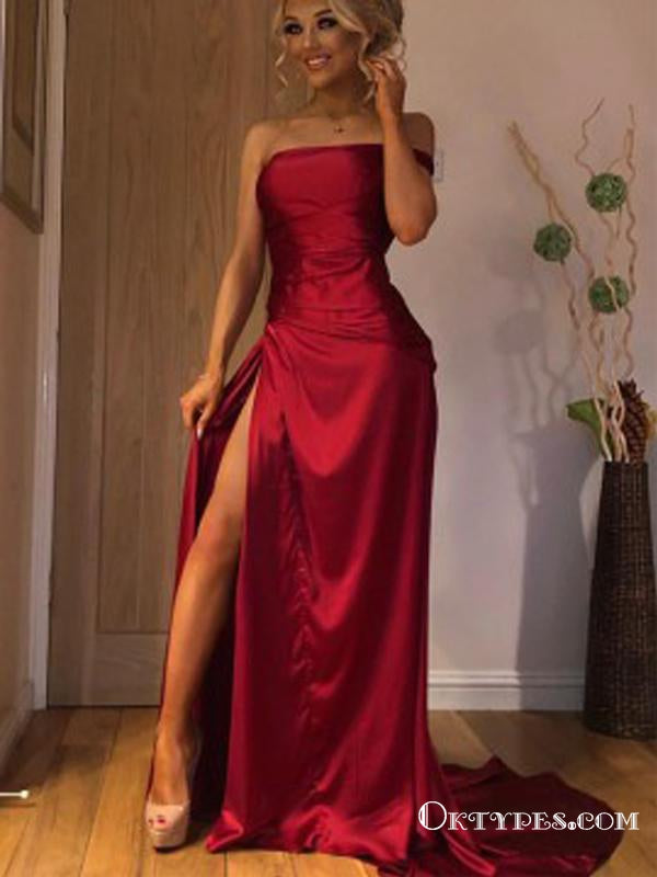 A-Line Burgundy  Sleeveless Long Strapless Party Prom Dresses with Split, TYP1800