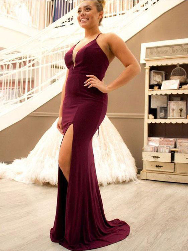 Burgundy Criss Cross Sheath Split Side Prom Dresses Evening Dress for Women, TYP1582