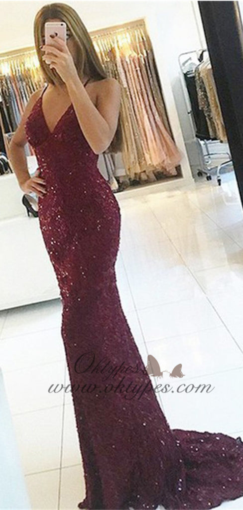 Mermaid Spaghetti Straps Backless Burgundy Lace Prom Dresses with Beaded, TYP1508