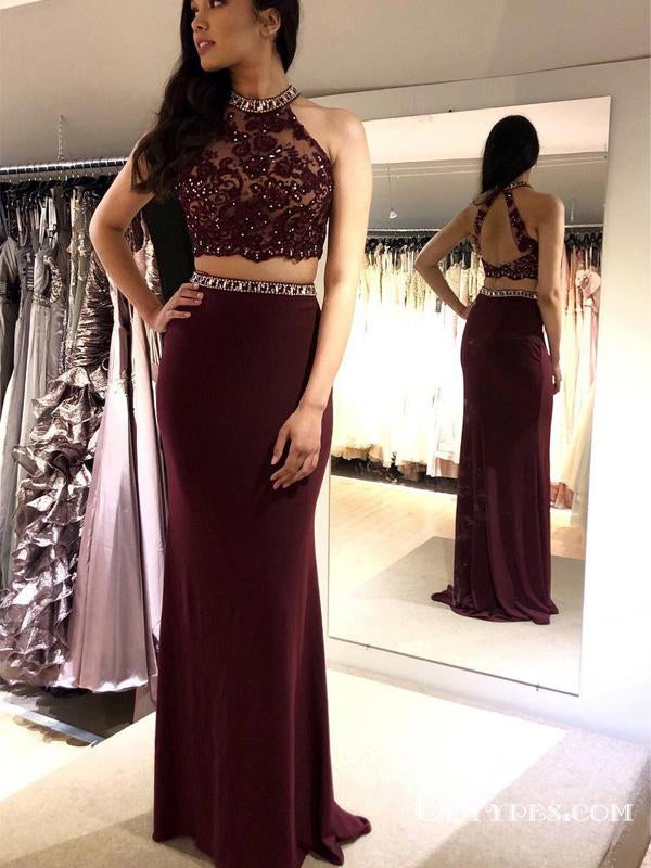 Two Piece Sheath Backless Burgundy Long Cheap Prom Dresses With Beaded, TYP1893
