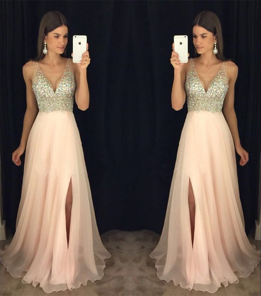 2017 Newest Prom Dress, V-neck Prom Dresses, Split Side Prom Dresses, Crystal Beading Prom Dresses, Cheap Prom Dress, TYP0055