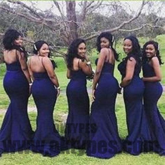 Long Mermaid Bridesmaid Dresses, Spaghetti Strap Bridesmaid Dresses, Backless Zipper Bridesmaid Dresses, TYP0331