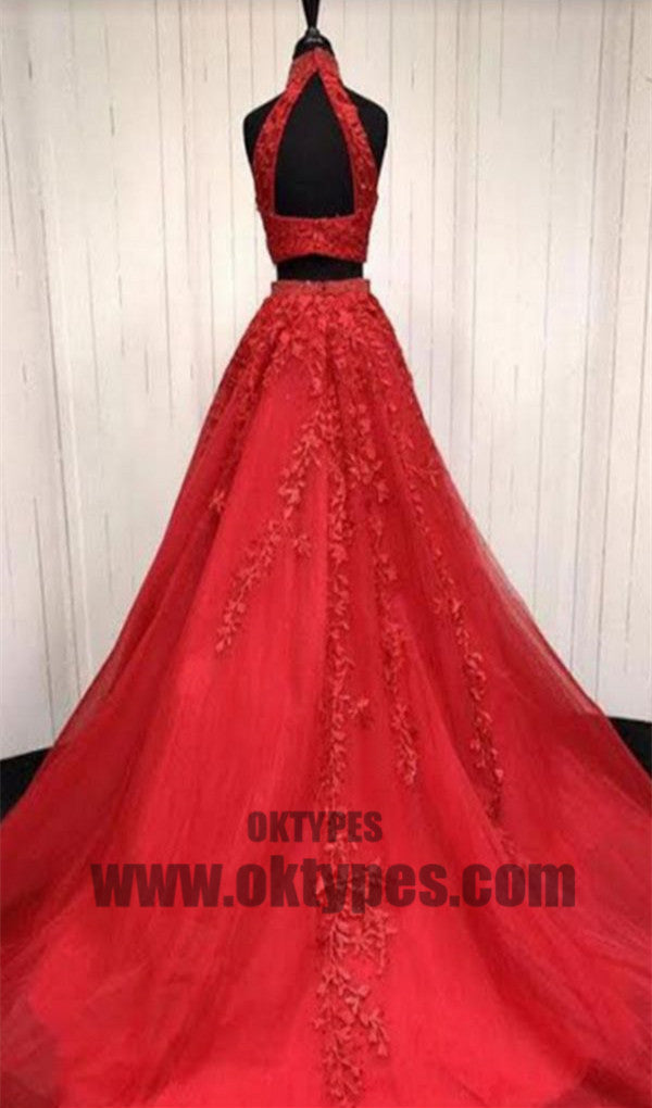 Red Two Piece Appliques Prom Dresses, Long Halter Lace Mermaid Prom Dresses, TYP0444