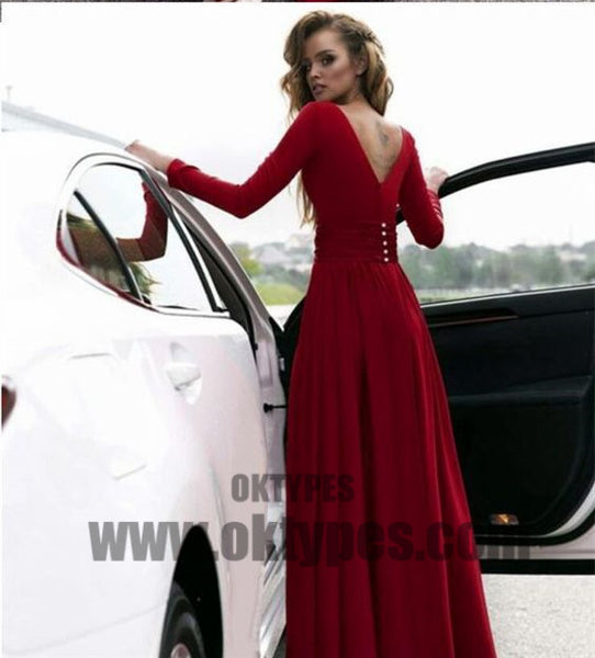 Clark Long Sleeve Prom Dresses, Sexy Deep V-neck Side Split Prom Dresses, V-back Prom Dresses, TYP0359