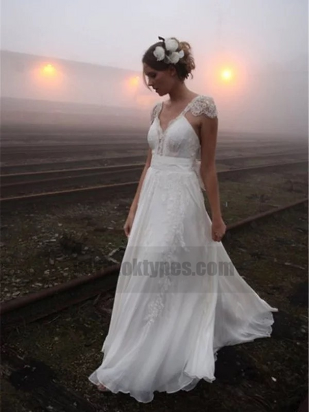 Sexy Backless Cap Sleeve V Neck A-line Chiffon Beach Wedding Dresses Online, TYP0816