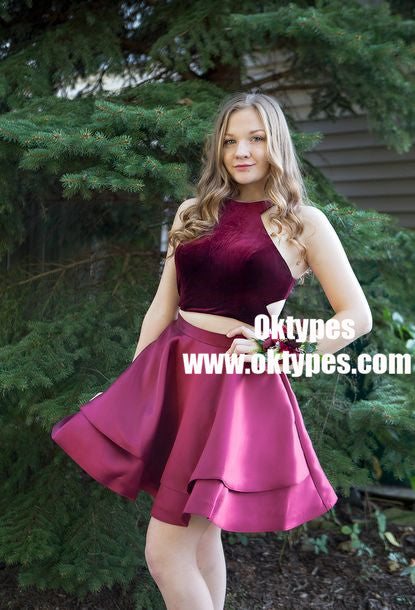 Two Piece Halter Neck Cut-out Burgundy Homecoming Party Dresses, TYP0924