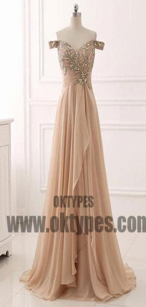 Long Floor Length Off-shoulder Beading Chiffon Prom Dresses, Zipper Prom Dresses, TYP0474
