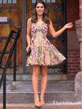 Charming A-Line V-Neck Above-Knee Champagne Tulle Embroidery Short Cheap Homecoming Dresses, TYP2040
