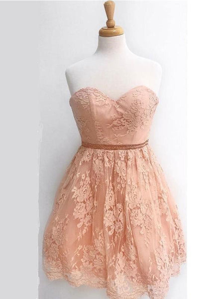 Sweetheart Champagne Lace Cheap Short Homecoming Dresses Online, CM591