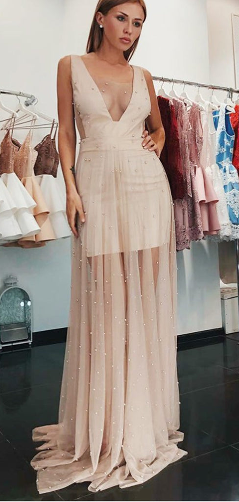 A-Line V-Neck Low Cut Blush Pink Tulle Prom Dresses with Pearls, TYP1301