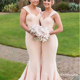 Mermaid Square Long Cheap Champagne Stretch Satin Bridesmaid Dresses, TYP1851