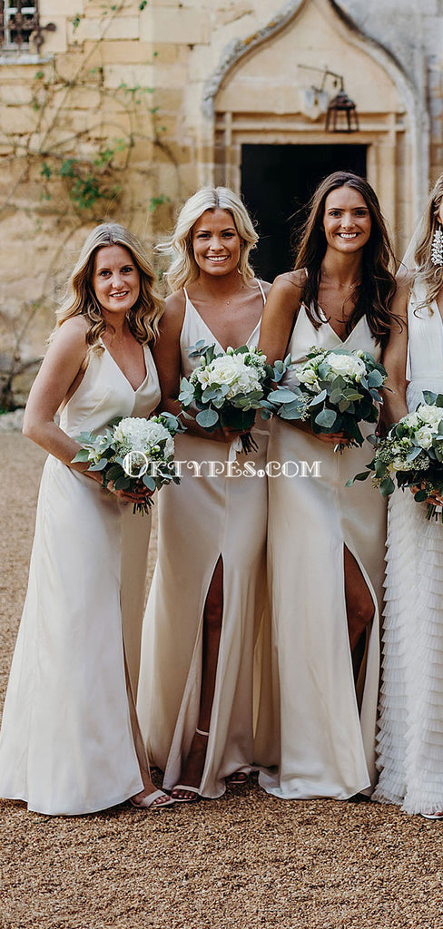 Simple Spaghetti Strap Champagne Satin Long Cheap Bridesmaid Dresses, BDS0108
