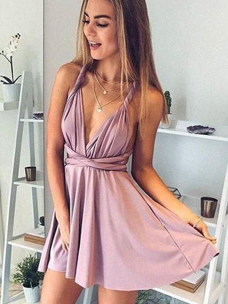Simple Dusty Pink Cheap Short Homecoming Dresses 2018, CM554