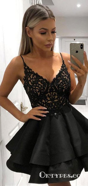 Cute A Line V Neck Lace Layered Black Top Lace Short Homecoming Dresses, TYP1963