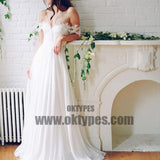 Popular Off Shoulder Long A-line White Chiffon Sexy Lace Wedding Dresses, TYP0605