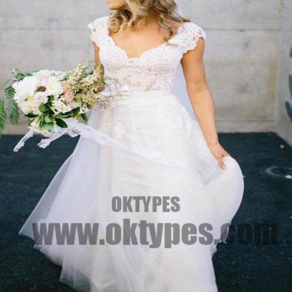 V Neck Lace Cap Sleeves Cheap Custom Long Wedding Bridal Dresses, TYP0496