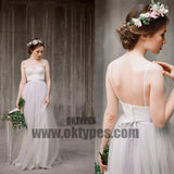 Spaghetti Lace Top Light Grey A-line Simple Design Wedding Dresses, Beach Wedding Dresses, TYP0601