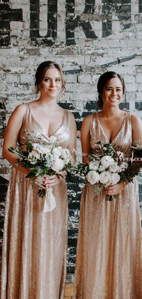 Sparkly V-neck Gold Sequin A-line Long Cheap Bridesmaid Dresses, BDS0050