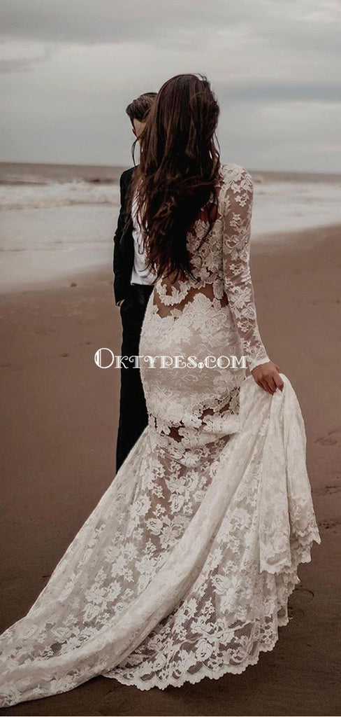 Long Sleeves V-neck Lace Mermaid Long Cheap Wedding Dresses, WDS0071