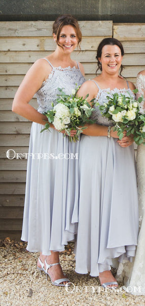 Sexy High Low Spaghetti Strap Grey Chiffon Top Lace Appliqued Charming Long Bridesmaid Dresses, TYP2071