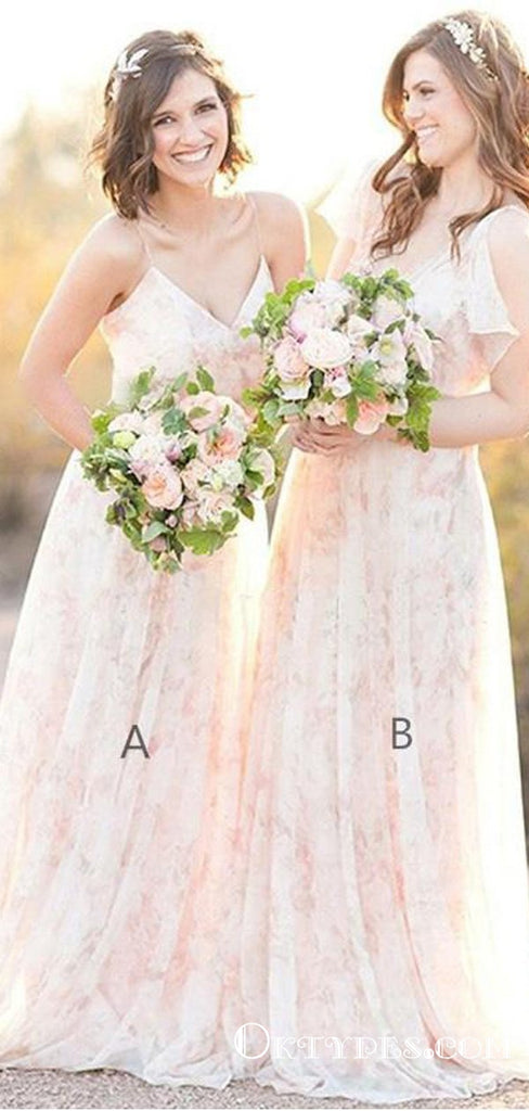 A-Line Spaghetti Straps Long Cheap Pearl Pink Lace Bridesmaid Dresses, TYP1832