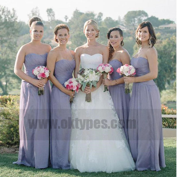 Simple Strapless Cheap Sweetheart Chiffon Custom Long Bridesmaid Dresses, TYP0775