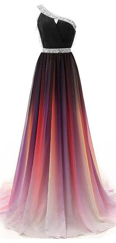 Charming Custom One Shoulder Ombre Beaded Long Evening Prom Dresses, TYP1432