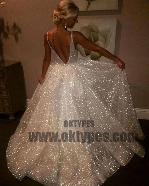 Sequins V-Neck Ivory Backless A-Line Sleeveless Elegant Plus Size Prom Dresses, TYP0462