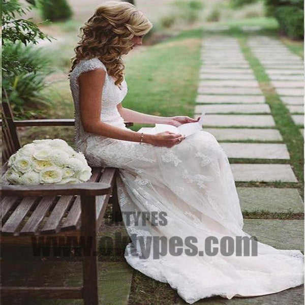 Open Back Cap Sleeves Lace Mermaid Long Wedding Bridal Dresses, Wedding Dresses, TYP0517