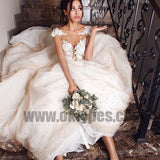 Ball Gown Bateau Cap Sleeves Pearl Pink Wedding Dress with Appliques, TYP0706