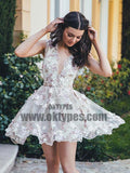2018 Homecoming Dress, Tulle A-line V-neck Short Prom Dress Party Dress, TYP0690