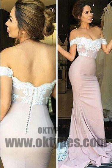 Light Pink Prom Dresses, Long Mermaid Prom Dresses, Off-shoulder Lace Prom Dresses, Zipper Prom Dresses, TYP0068