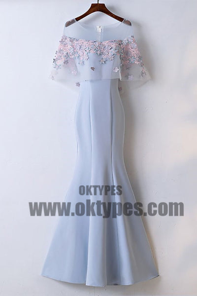 Charming Scoop Neckline Flower Appliques Zipper Up Mermaid Long Prom Dress, Beautiful Prom Dress, TYP0481