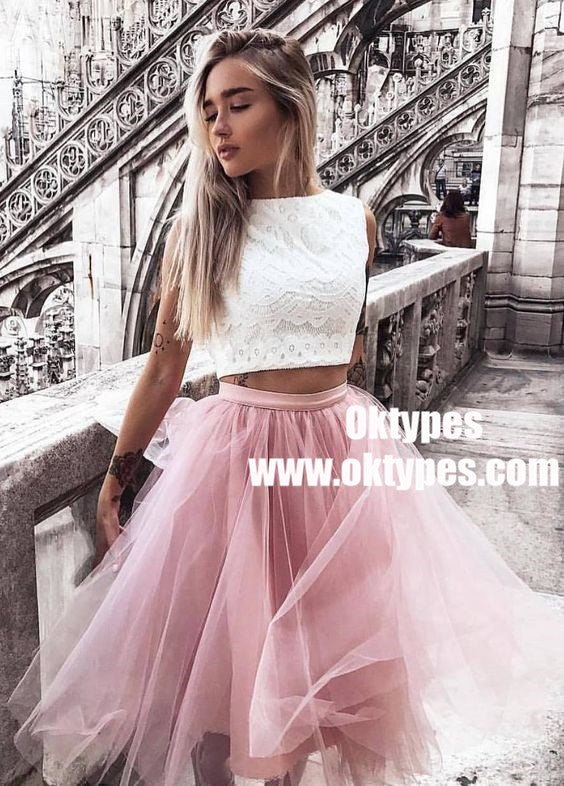Two Piece Bateau Pink Tulle Homecoming Party Dress with Lace, TYP0963