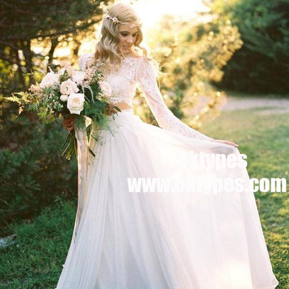 2 Pieces Lace Top Chiffon Skirt Romantic Country Wedding Dresses, TYP0937