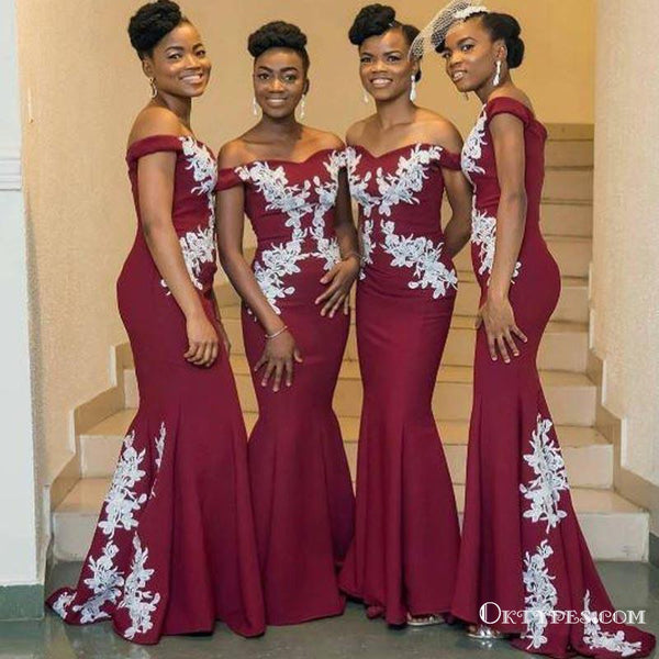 495a3222f26 Dark Red Off Shoulder Long Cheap Bridesmaid Dresses With White Lace Applique,  TYP1803